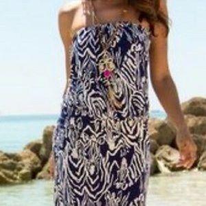 Lilly Purlitzer zebra tube strapless dress Med
